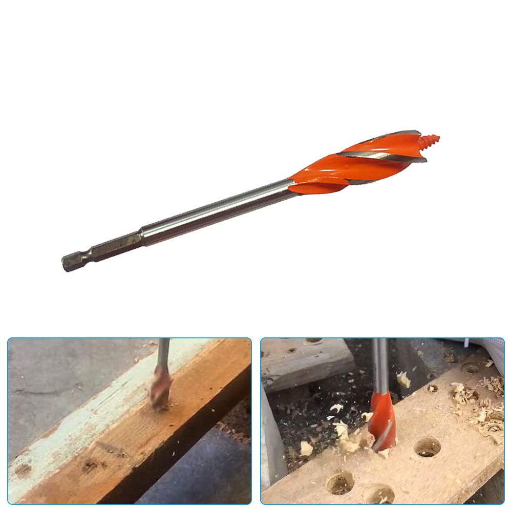 """1//4/"""" Shank 25mm Dia Woodworking Wood Quad Fluted Auger Drill Bit"""