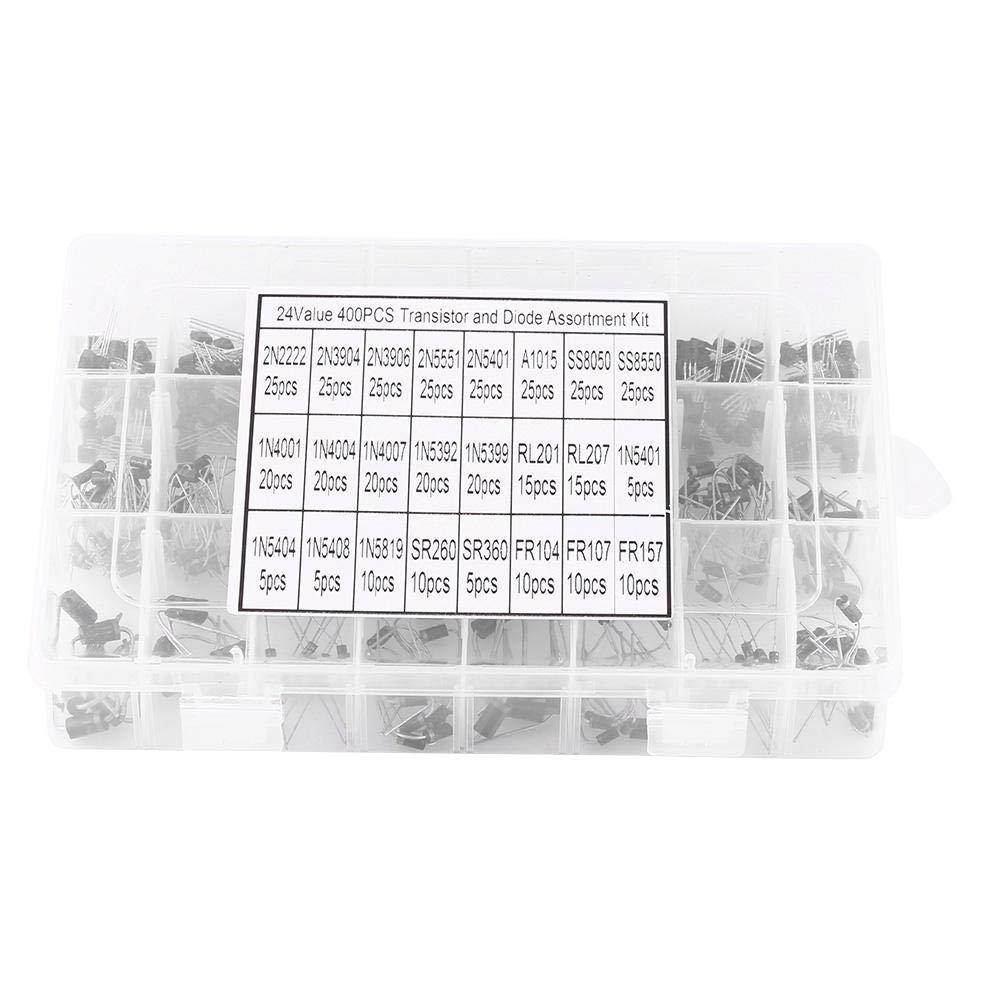 Transistores y diodos diodo rectificador valores de 400 piezas//caja 24 Surtido de transistores y diodos rectificadores para profesionales o entusiastas de la electr/ónica