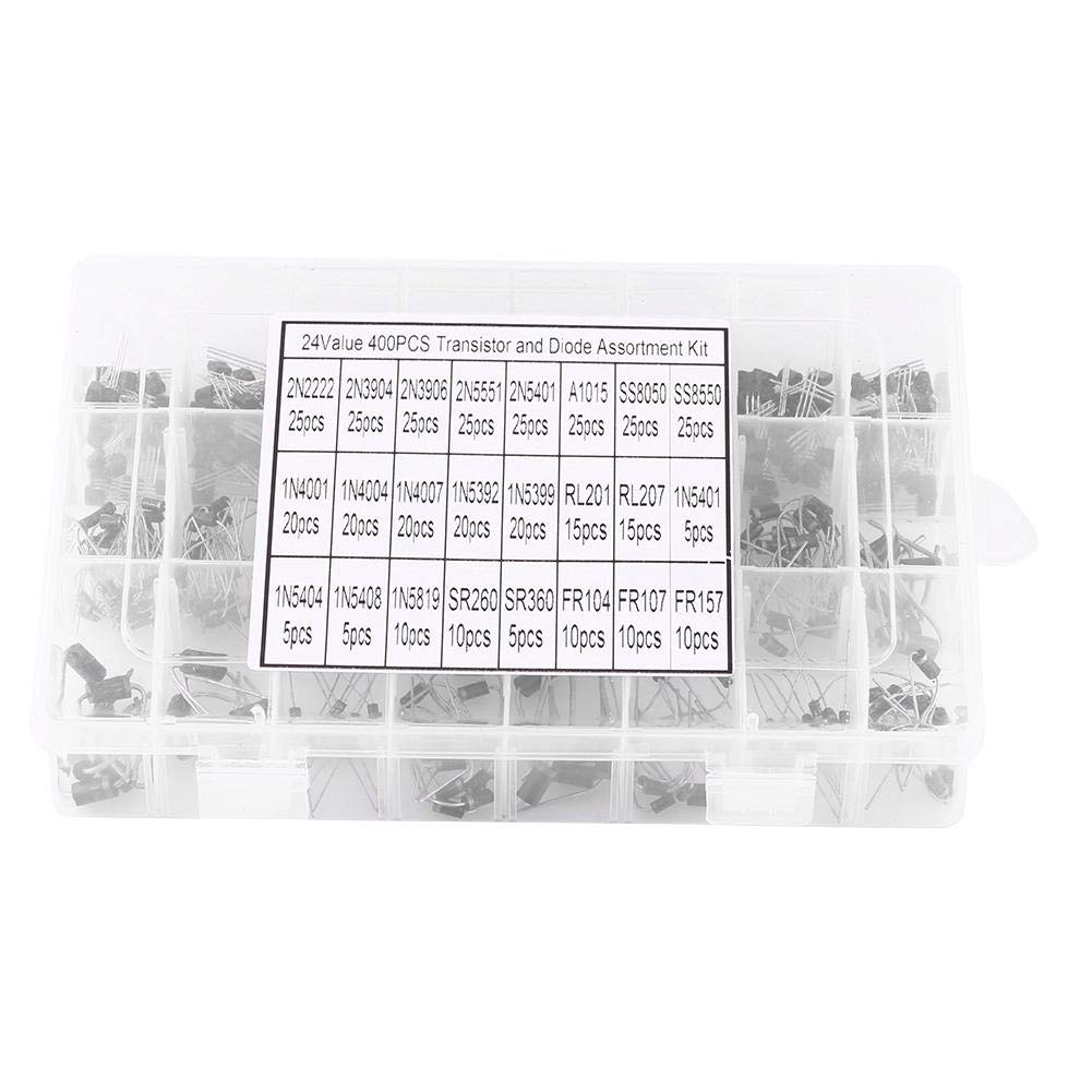 Diode Transistor Kit,Acogedor 400pcs 24 Values Transistors and Rectifier Diodes Assortment Set with Storage Box