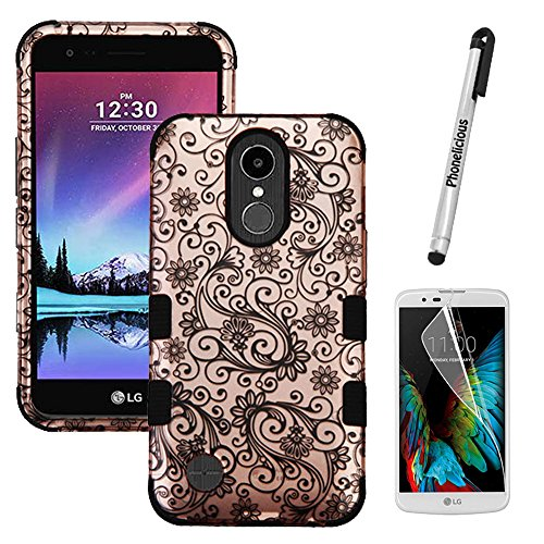 LG GRACE Case; LG HARMONY Case, Phonelicious [Heavy Duty] [Shock Absorption] [Drop Protection] [Hybrid] Rugged Impact Phone Tuff Cover + Screen Protector & Stylus (GOLD SWIRL)