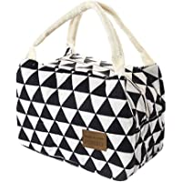 Auimank Lunch Bag Cooler Bag Women Tote Bag Insulated Lunch Box Water-resistant Thermal Lunch Bag Soft Liner Lunch Bags for women/Picnic/Boating/Beach/Fishing/Work (A-Black, Free Size)