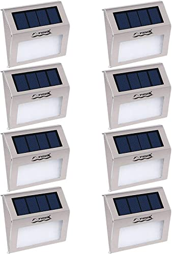Pack of 8 F-TECK Outdoor Stainless Steel LED Solar Step Light Wireless Super Bright Modern White Lamp Waterproof Lighting for Deck, Staircase, Walkway, Patio, Garden, Yard Auto On Off Dusk to Dawn