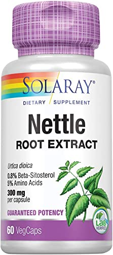 Solaray Nettle Root Extract 300mg Healthy Male Urinary Prostate Support Guaranteed Potency Amino Acids Beta-Sitosterol Non-GMO 60 VegCap