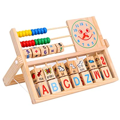 Beher Wooden Math Number Teaching Tool, Child Multifunction Smiley Abacus Calculation Educational Learning Toy: Toys & Games