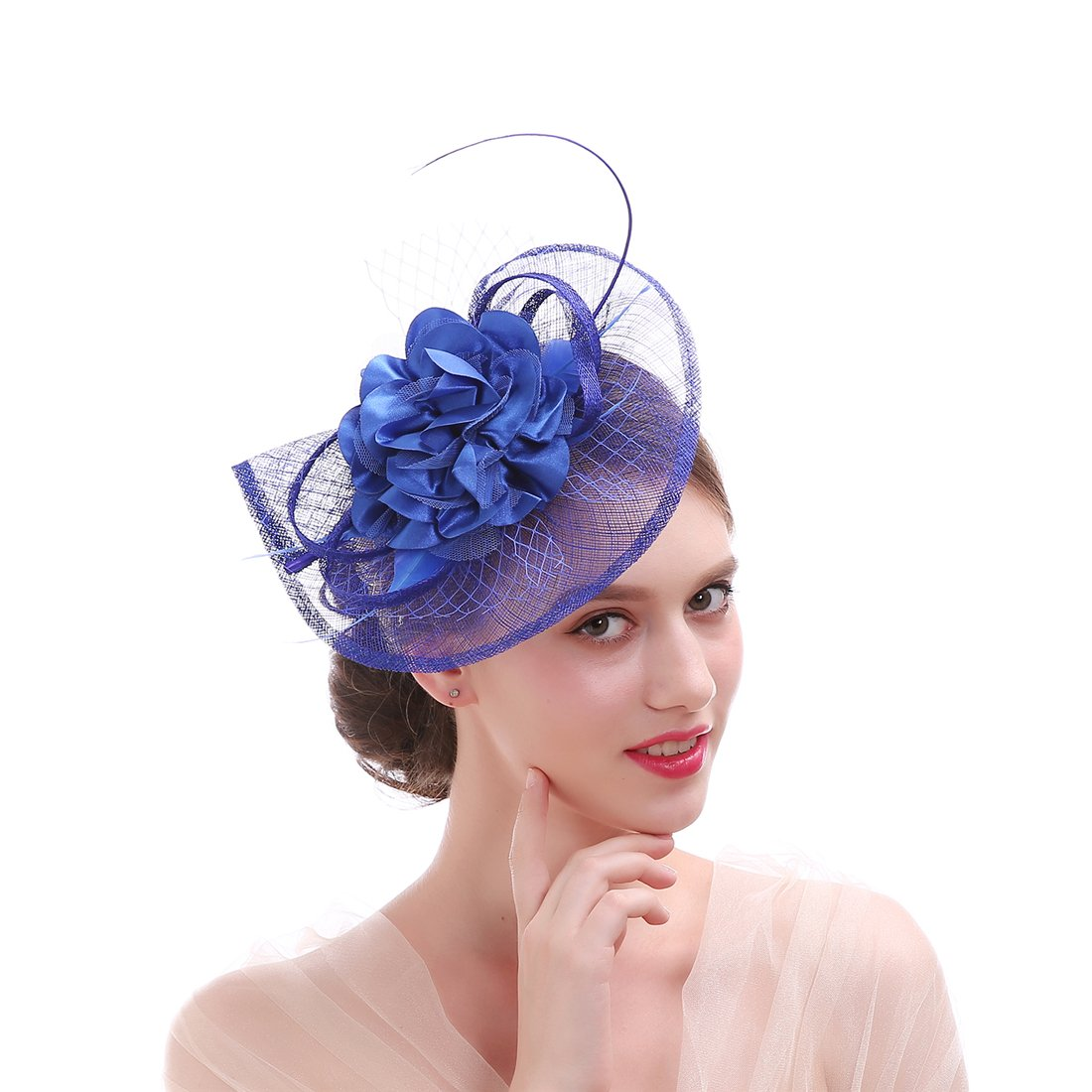 Sinamay Feather Fascinator Headband Flower Derby Hat for Women (Royal Blue)