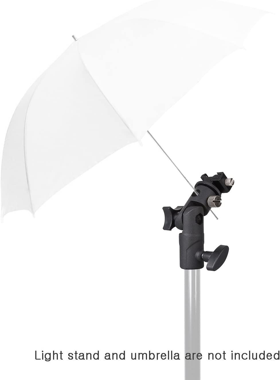 Light Stand Tripod Hot Shoe Mount Photo Studio LimoStudio AGG2366 E-Type Flash Bracket Multi Functional 4 1//4-inch Tall Including Umbrella Reflector Holder 3//8 inch Female Thread 1//4 2 Pack
