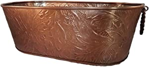 Large Oval Copper Beverage Party Tub Cooler; Ice Tub, Wine Chiller or Beer Bucket for Drinks or Planter Bucket
