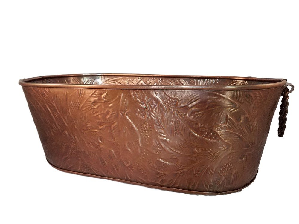 Large Oval Copper Beverage Party Tub Cooler; Ice Tub, Wine Chiller or Beer Bucket for Drinks or Planter Bucket KINDWER A1047