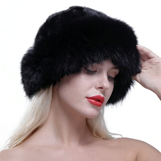 aa4b9e3489b URSFUR Women s Real Fox Fur Roller Hat with Mink Top Multicolor Black