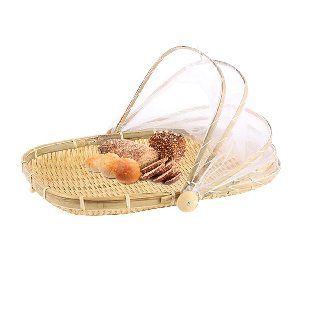 iShine Hand-woven Food Serving Tent Basket, Bug-proof Dust-proof Fruit Vegetable Bread Cover Storage Container with Gauze for Outdoor Picnic