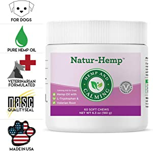 Green Pet Organics Natur-Hemp Calming Soft Chews for Dogs, Natural Treats with Hemp Oil, Tryptophan, Valerian Root, Chamomile, Anxiety Relief, Stress Relief for Dogs, 60 Soft Chews, 6.3 oz