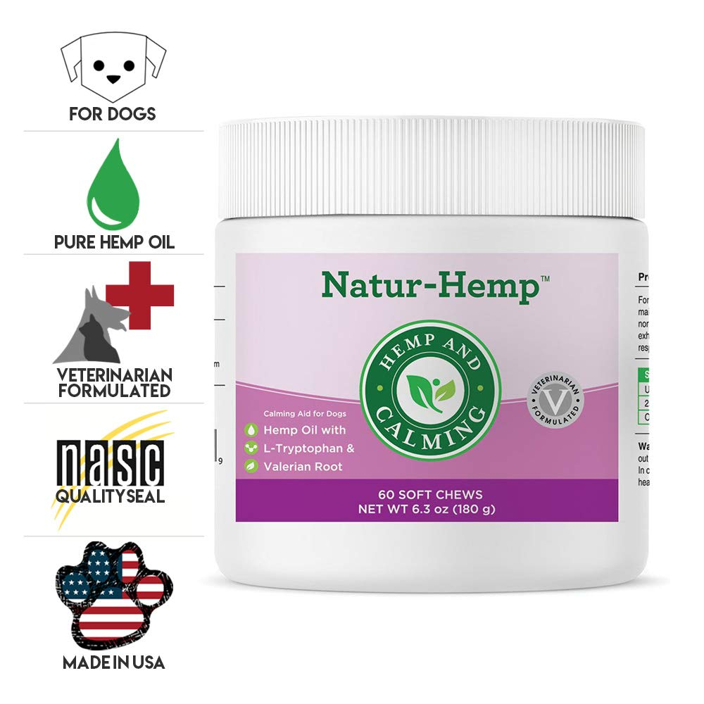 Green Pet Organics Natur-Hemp Calming Soft Chews for Dogs, Natural Treats with Hemp Oil, Tryptophan, Valerian Root, Chamomile, Anxiety Relief, Stress Relief for Dogs, 60 Soft Chews, 6.3 oz by Green Pet Organics