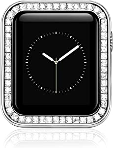 top4cus Compatible with Apple Watch Case 42mm: Iwatch Diamond Protective Brilliant Cover Zinc Alloy Bumper Gorgeous Large Diamonds Frame Compatible with Apple Watch Series 3/2/1 (Silver, 42mm)