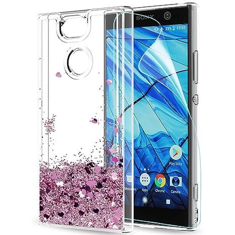 LeYi Funda Sony Xperia XA2 Silicona Purpurina Carcasa con HD Protectores de Pantalla,Transparente Cristal Bumper Telefono Gel TPU Fundas Case Cover ...