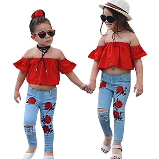 0b96bcadf8 Toddler Baby Girls Kids 2019 Summer Clothes Outfits Off Shoulder Tops+Hole  Rose Printed Denim