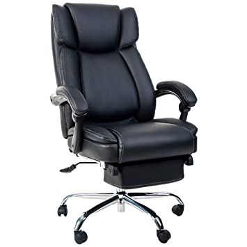Delightful Merax Executive High Back Office Napping Chair With Padded Footrest, Black