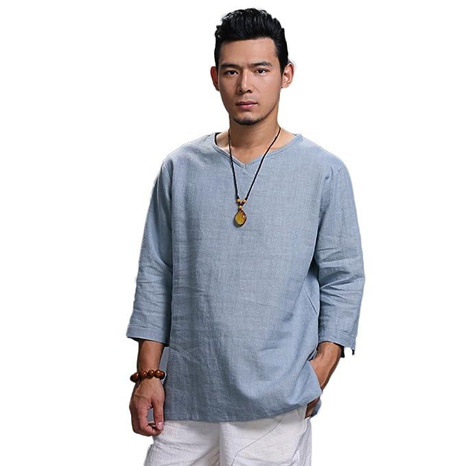 GHGJU Camiseta De Manga Larga Para Hombre Camiseta De Algodón Y Lino De Estilo Nacional Con