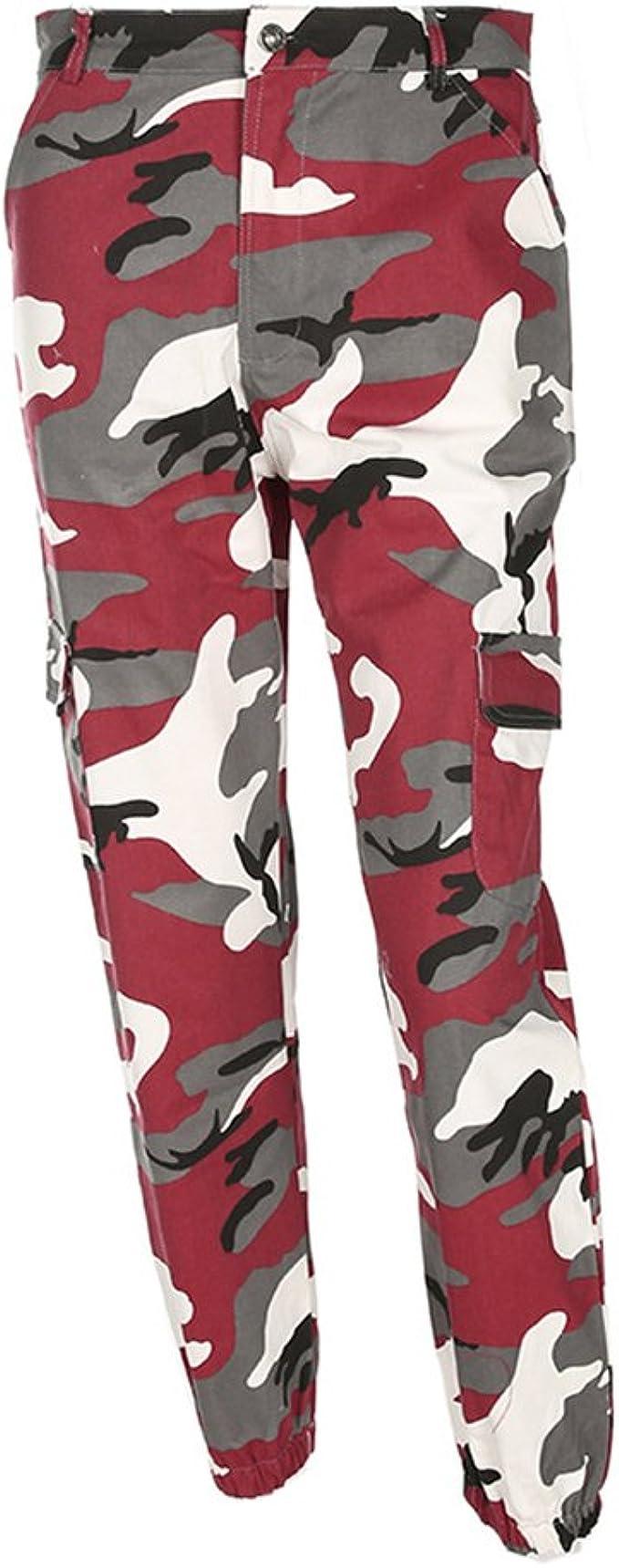 hibote Pantalón de Camuflaje para Mujer Pantalón Militar Recto ...