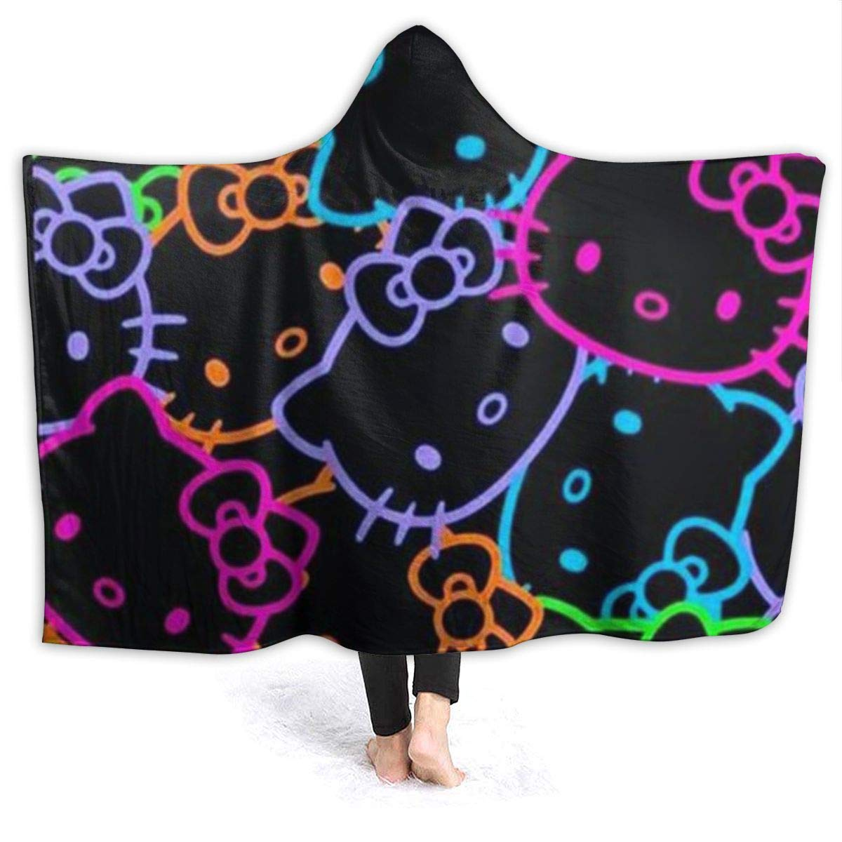 Colorful Hello Kitty Head Portrait Oversized Hooded Blanket Flannel Super Soft Cape Wrap Wearable Cuddle Multi Size Optional by Criss
