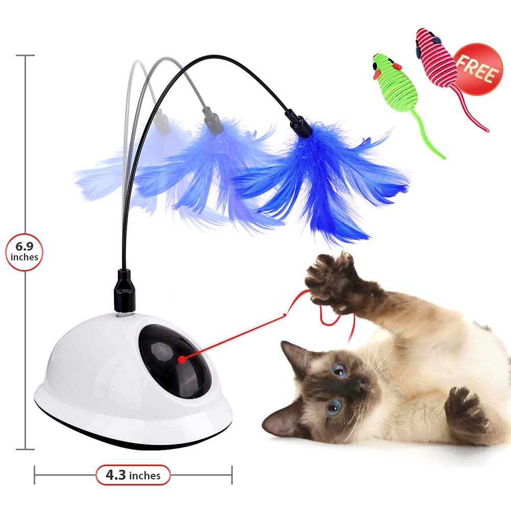 Reeple Automatic Interactive Cat Toy Light Catch with Feather 2 in 1 Rotating Teasing Pet Chase Training Toys for Kitten Activity Electric Non-Handhold Fun Spin Teaser Game Play