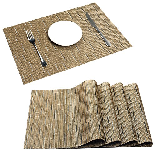 Sale Patio Mats (PAUWER Placemats Set of 6 Crossweave Woven Vinyl Placemat for Kitchen Table Heat Resistant Non-slip Kitchen Table Mats Easy to Clean (6, khaki))