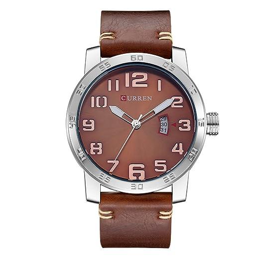2017 nueva Curren hombres reloj moda lujo deporte hombres militares reloj de pulsera cuero marrón cuarzo reloj 8254: Amazon.es: Relojes