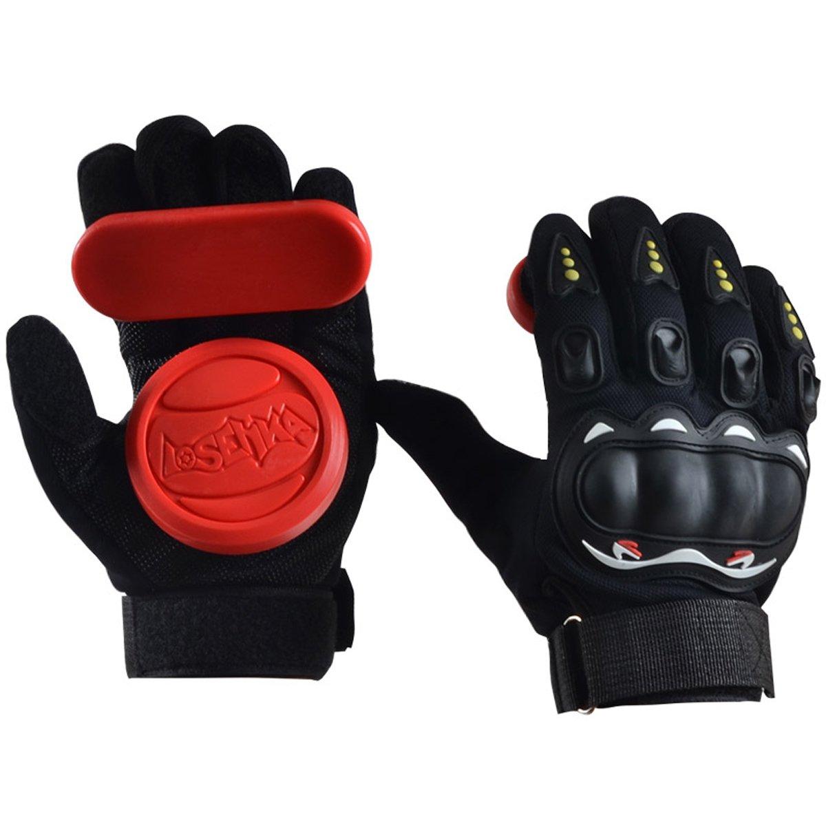 LOSENKA Professional Grip Longboard Skateboard Downhill Sliding Gloves with Slide Blocks Slider Foam Palm Hand Wrist Guards Protector Protective Gear for Skateboarding by LOSENKA