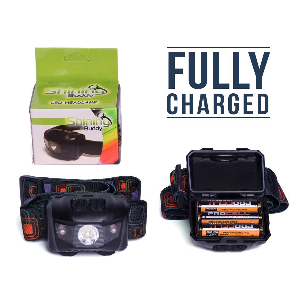 LED Headlamp Flashlight - Great for Camping, Hiking, Dog Walking, Kids. One of the Lightest (2.6 oz) Cree Headlight. Water & Shock Resistant with Red Strobe. Duracell Batteries Included. by Shining Buddy (Image #3)