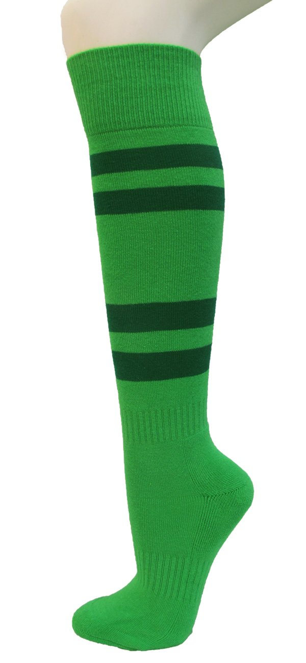 Couver Bright Green Softball/Sports Striped Knee High Athletic Socks(1 Pair)