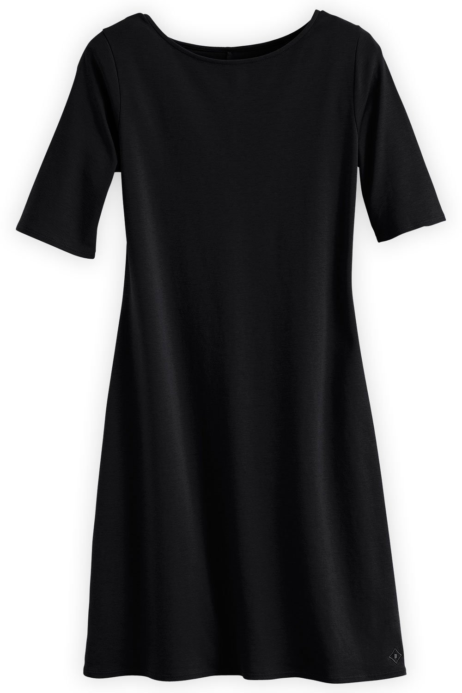 Fair Indigo Fair Trade Organic Boat Neck Dress (XL, Black)