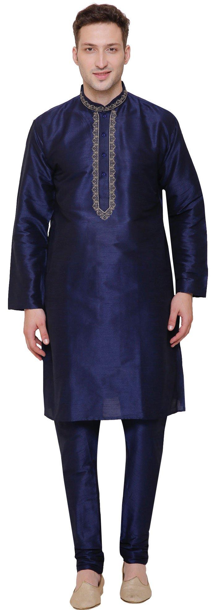 Dupion Silk Mens Kurta Pajama Party Wear India Clothing (Blue, XL)