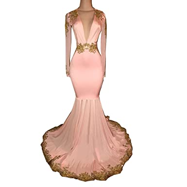 KapokBanyan Sexy Mermaid Prom Dress Gold Appliques Pink Long Evening Gowns