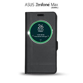 IBROZ® ASUS ZenFone MAX (ZC550KL) Funda, Carcasa, Case Flip Cover Smart View ZC550KL, Cierre Magnético y Cristal Protector, Negro
