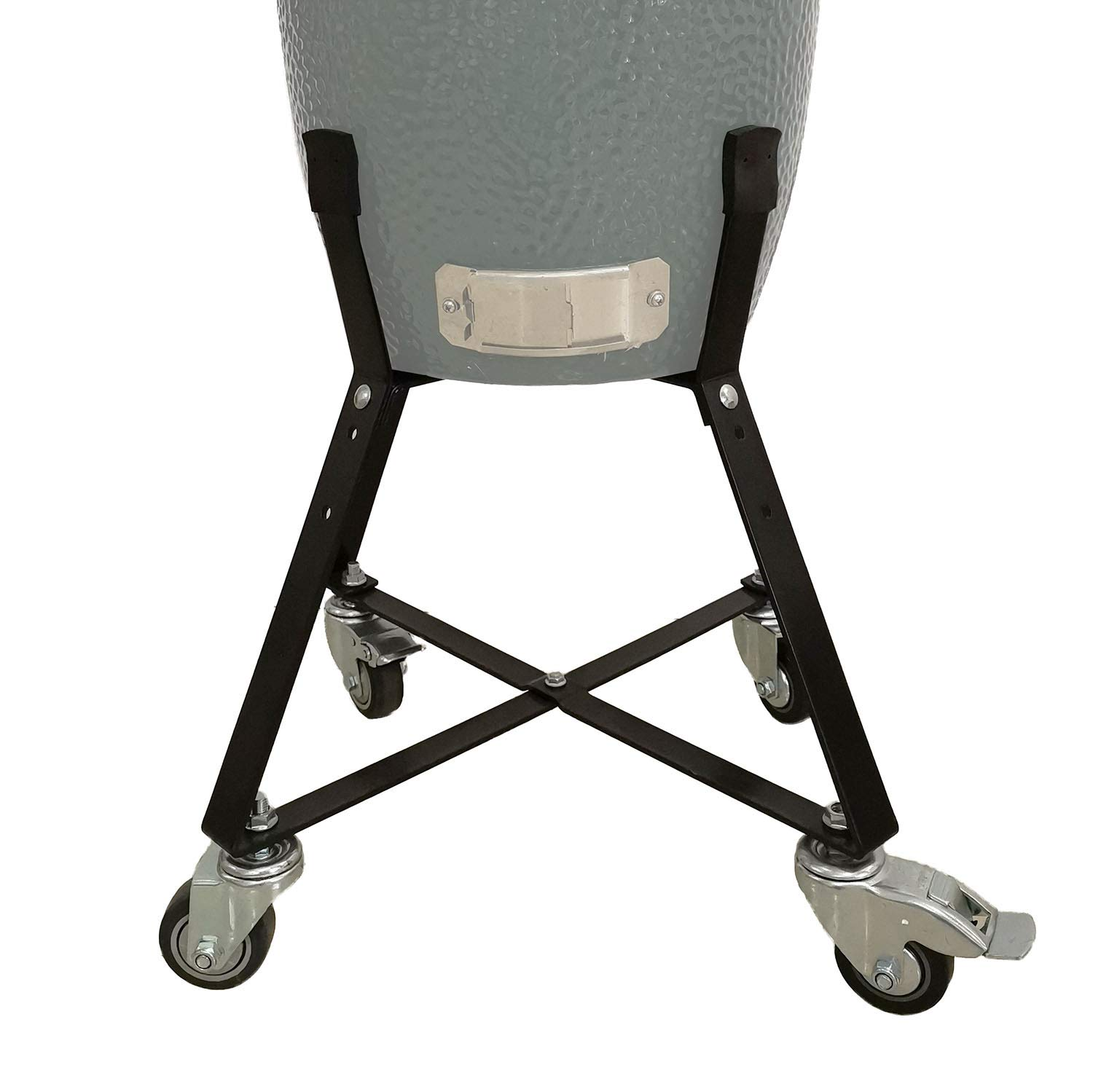 Rolling Cart Nest for Small Big Green Egg with Heavy Duty Locking Caster Wheels Powder Coated Steel Rolling Outdoor Cart Kamado Stand Cooking Accessories Raise Egg Round Pit (Fit for S BGE)