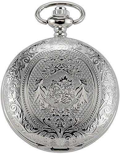 New Brand Mall Silver Vintage Stainless Steel Quartz Pocket Watch Chain + Gift Box