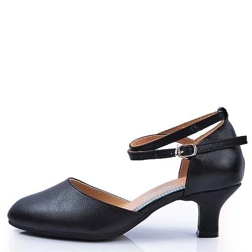 Wxmddn Zapatillas de Baile Latinas para Adultos Zapatos de Baile Negros 5.5cm Suelas de Cuero Suaves Zapatos de Baile, E36: Amazon.es: Zapatos y ...