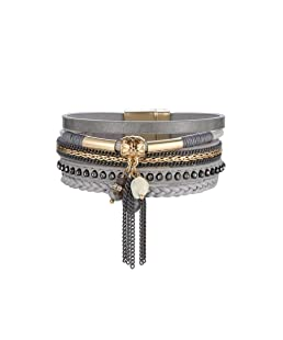 La Cabina Femme Bracelet Bijou Fantaisie Mode Bracelet de Poignet en Strass & alliage Bangle Multi-coloré et Multilayer