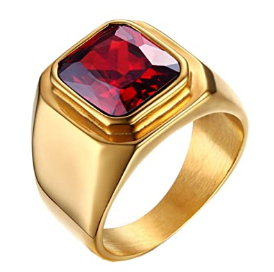 PMTIER Men s Stainless Steel Gold Plated Ring with Square Gemstone