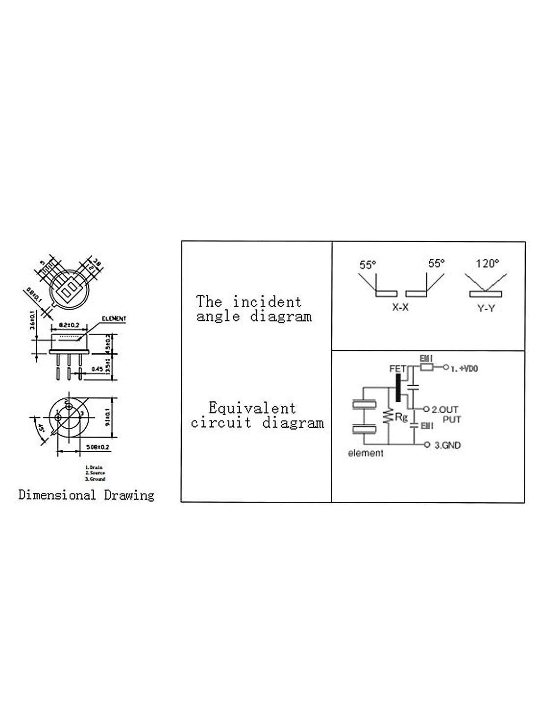 Dealmux 2 Pcs D204b Pyroelectric Infrared Radial Pir Motion Sensor Circuit Diagram Using Lm324 Detector Industrial Scientific