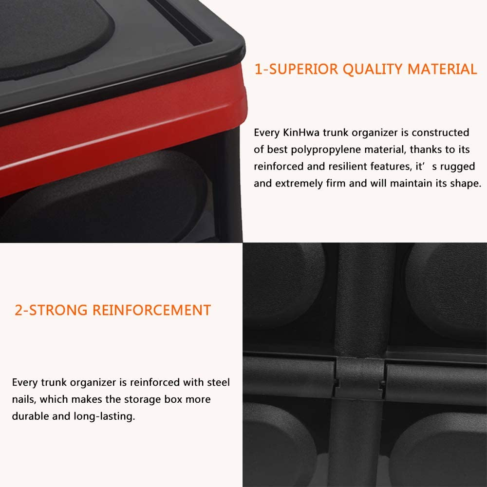 Black KinHwa Trunk Organizer for Car Auto Collapsible Cargo Storage Box Portable Non-slip SUV Storage Container Multipurpose PP Material Color