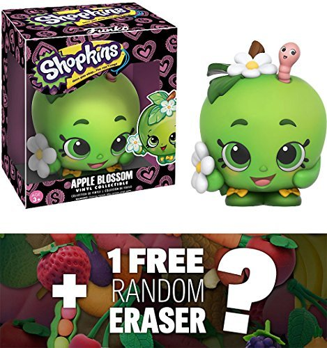 Japanese Mini Vinyl - Funko Apple Blossom x Shopkins Vinyl Figure + 1 FREE Japanese Food Themed Mini-Eraser Bundle (10742)