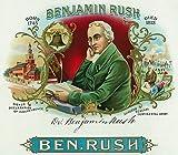 Benjamin Rush Brand Cigar Box Label - Founder of Dickinson College (12x18 Art Print, Wall Decor Travel Poster)