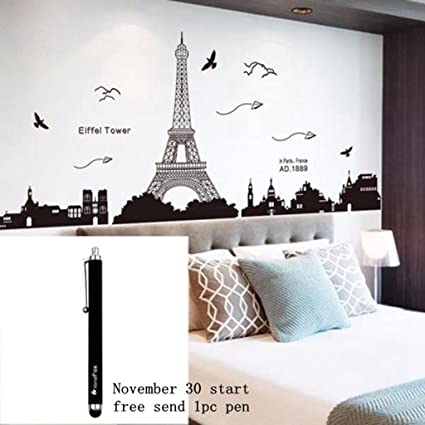 Ussore Eiffel Tower Removable Decor Environmentally Mural Wall Stickers  Decal Wallpaper For Kids Home Living Room
