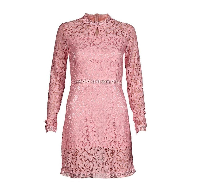 Tongshi Mujeres rosa cordón hueco manga larga delgada fiesta vestido ...