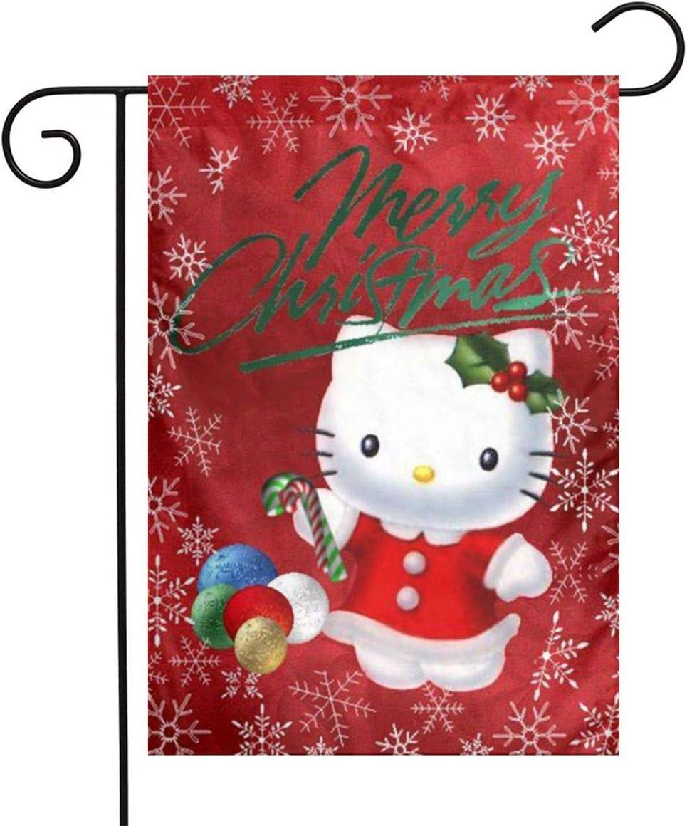 Criss Cute Hello Kitty Merry Christmas Garden Flag Perfect Decor for Outdoor Yard Porch Patio Farmhouse Lawn, 12 X 18 Inch