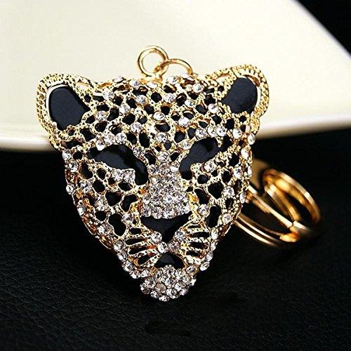 Leopard Mask Crystals Rhinestone Handbag Purse Charm/Key Chain Keyring Holder