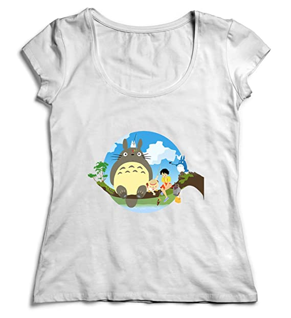 491228f5ded Amazon.com  Totoro Characters Sitting On The Tree Branch My Neighbor Totoro Tshirt  Shirt T-Shirt Women  Clothing