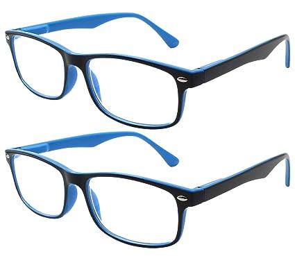 TBOC Gafas de Lectura Presbicia Vista Cansada - (Pack 2 Unidades) Graduadas +2.00 Dioptrías Montura de Pasta Bicolor Azul y Negra Diseño Moda Hombre ...