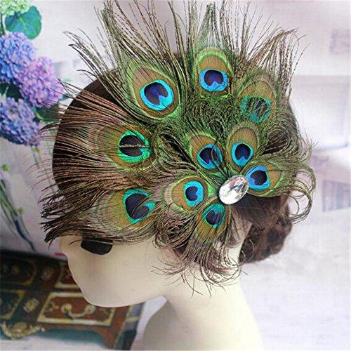 [Lsinyan women halloween dance party accessories tribal style natural peacock feather headdress ornaments hairpin side folder] (Festival Street Dance Costume)