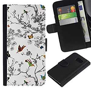 KingStore / Leather Etui en cuir / Samsung Galaxy S6 / Árboles Pintura Dibujo Naturaleza Blanca